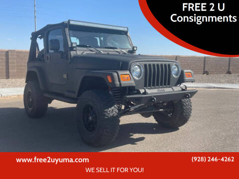 2003 Jeep Wrangler for sale at FREE 2 U Consignments in Yuma AZ