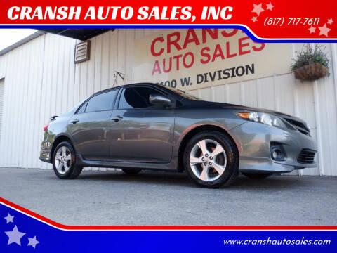 2013 Toyota Corolla for sale at CRANSH AUTO SALES, INC in Arlington TX