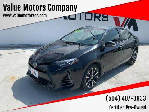 2017 Toyota Corolla for sale at Value Motors Company in Marrero LA