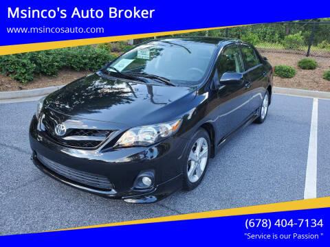 2013 Toyota Corolla for sale at Msinco's Auto Broker in Snellville GA
