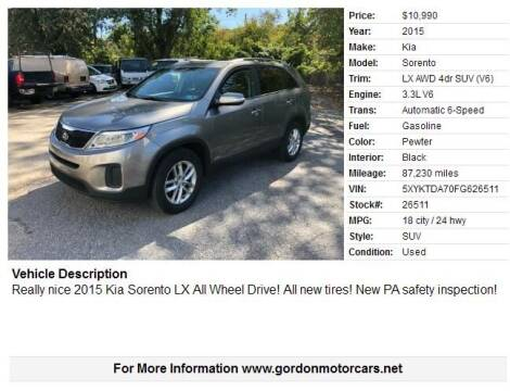 2015 Kia Sorento for sale at Gordon Motor Cars, LLC in Frazer PA