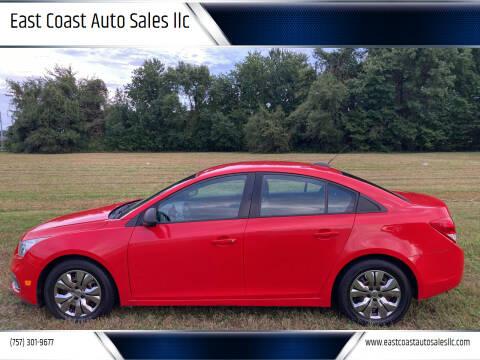 2015 Chevrolet Cruze for sale at East Coast Auto Sales llc in Virginia Beach VA