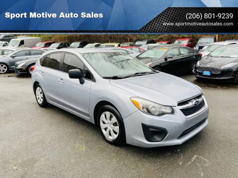 2014 Subaru Impreza for sale at Sport Motive Auto Sales in Seattle WA