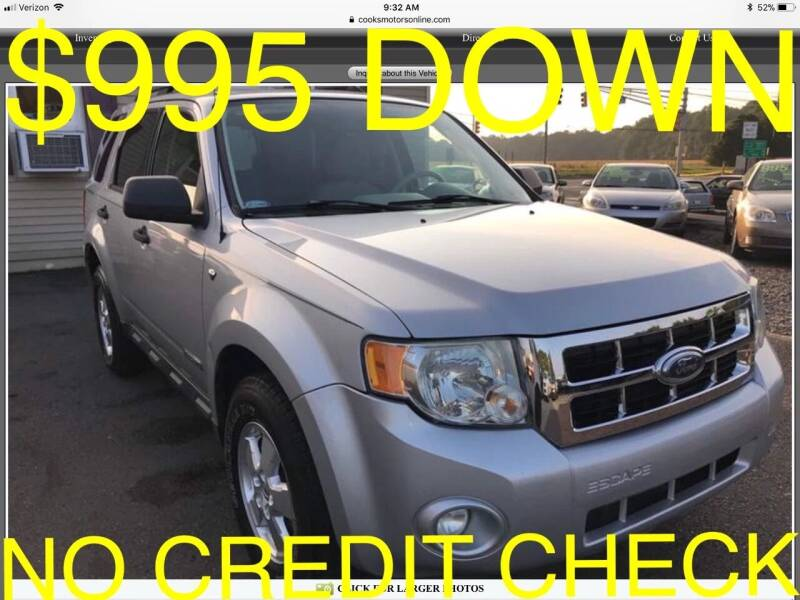 2008 Ford Escape for sale at Cooks Motors in Westampton NJ
