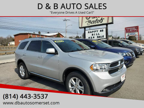 2013 Dodge Durango for sale at D & B AUTO SALES in Somerset PA
