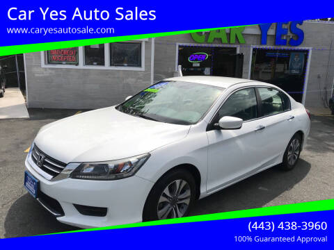 2014 Honda Accord for sale at Car Yes Auto Sales in Baltimore MD