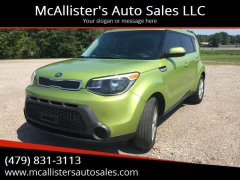 2015 Kia Soul for sale at McAllister's Auto Sales LLC in Van Buren AR