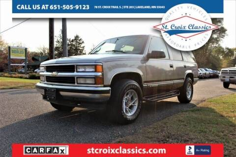 1999 Chevrolet Tahoe for sale at St. Croix Classics in Lakeland MN