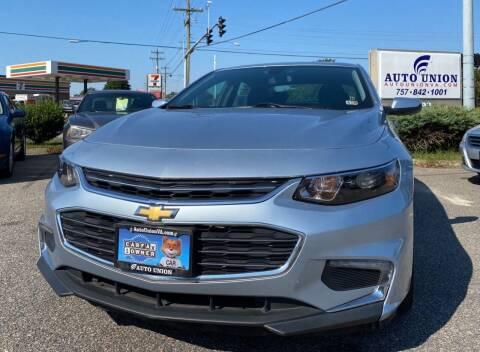 2018 Chevrolet Malibu for sale at Auto Union LLC in Virginia Beach VA