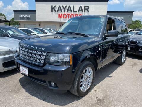 2012 Land Rover Range Rover for sale at KAYALAR MOTORS in Houston TX