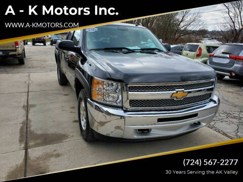 2012 Chevrolet Silverado 1500 for sale at A - K Motors Inc. in Vandergrift PA