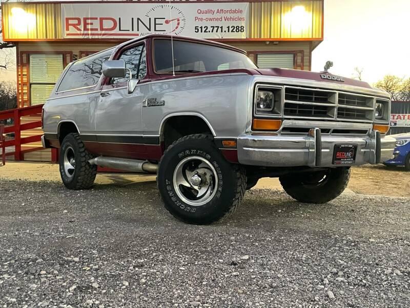 1988 Dodge Ramcharger for sale at REDLINE AUTO SALES LLC in Cedar Creek TX