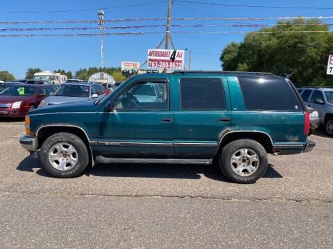 1996 Chevrolet Tahoe for sale at Affordable 4 All Auto Sales in Elk River MN