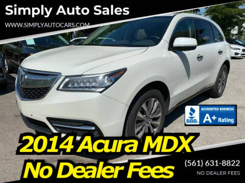 2014 Acura MDX for sale at Simply Auto Sales in Palm Beach Gardens FL