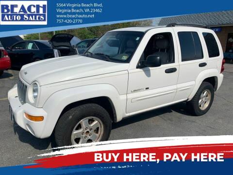 2002 Jeep Liberty for sale at Beach Auto Sales in Virginia Beach VA