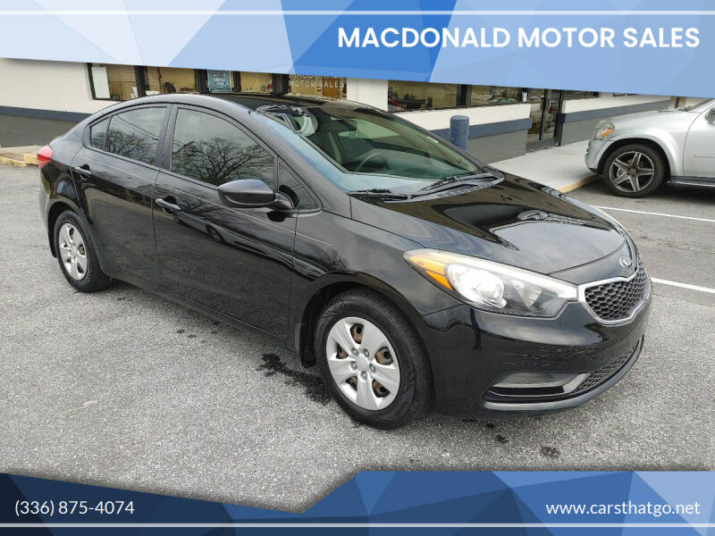 2015 Kia Forte for sale at MacDonald Motor Sales in High Point NC