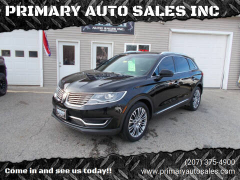 2016 Lincoln MKX for sale at PRIMARY AUTO SALES INC in Sabattus ME