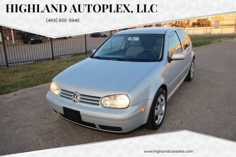 2000 Volkswagen Golf for sale at Highland Autoplex, LLC in Dallas TX