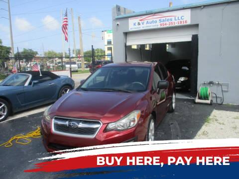 2012 Subaru Impreza for sale at K & V AUTO SALES LLC in Hollywood FL