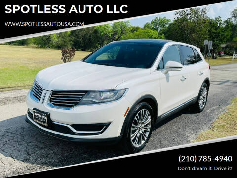 2017 Lincoln MKX for sale at SPOTLESS AUTO LLC in San Antonio TX