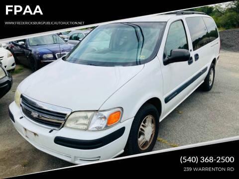 2003 Chevrolet Venture for sale at FPAA in Fredericksburg VA