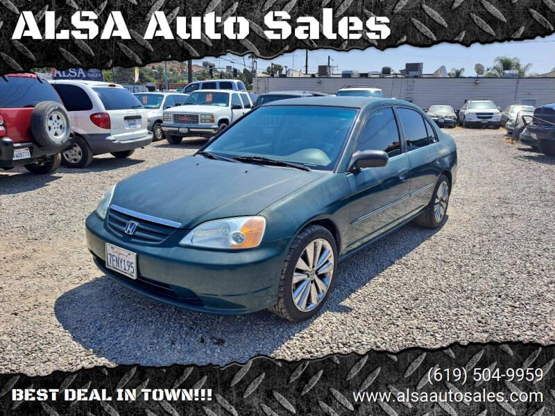 2002 Honda Civic for sale at ALSA Auto Sales in El Cajon CA