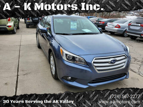 2015 Subaru Legacy for sale at A - K Motors Inc. in Vandergrift PA