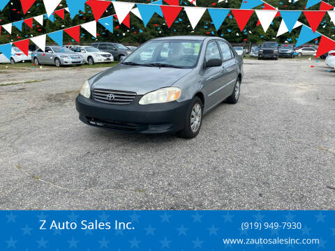2004 Toyota Corolla for sale at Z Auto Sales Inc. in Rocky Mount NC