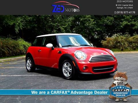 2012 MINI Cooper Hardtop for sale at Zed Motors in Raleigh NC