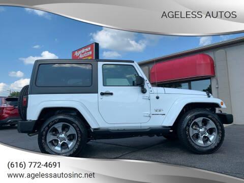 2018 Jeep Wrangler JK for sale at Ageless Autos in Zeeland MI
