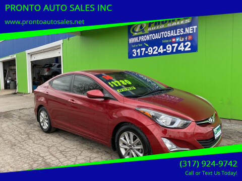 2016 Hyundai Elantra for sale at PRONTO AUTO SALES INC in Indianapolis IN