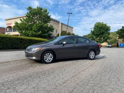 2012 Honda Civic for sale at GTO United Auto Sales LLC in Lawrenceville GA