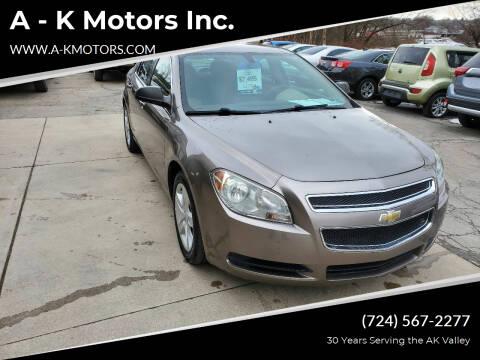 2010 Chevrolet Malibu for sale at A - K Motors Inc. in Vandergrift PA