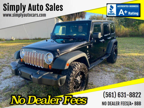 2010 Jeep Wrangler Unlimited for sale at Simply Auto Sales in Palm Beach Gardens FL