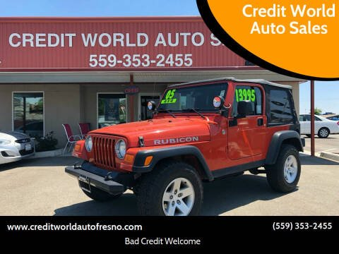 2005 Jeep Wrangler for sale at Credit World Auto Sales in Fresno CA