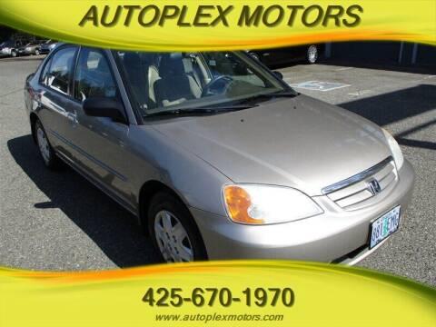 2003 Honda Civic for sale at Autoplex Motors in Lynnwood WA