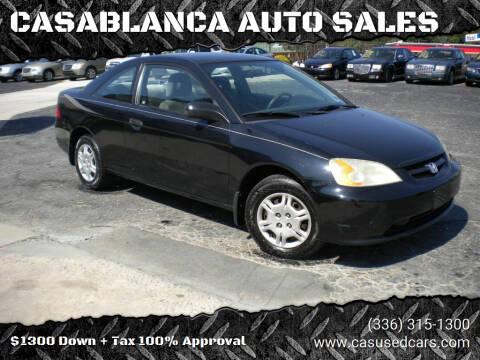 2001 Honda Civic for sale at CASABLANCA AUTO SALES in Greensboro NC