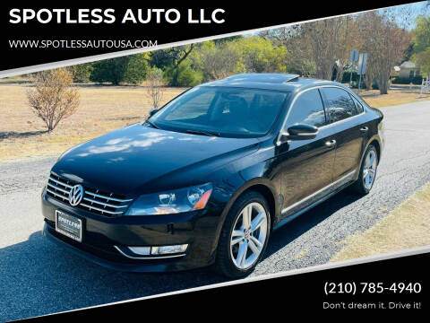 2013 Volkswagen Passat for sale at SPOTLESS AUTO LLC in San Antonio TX