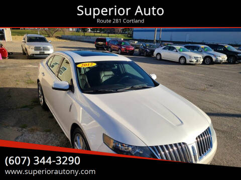2012 Lincoln MKS for sale at Superior Auto in Cortland NY