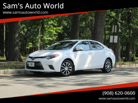 2016 Toyota Corolla for sale at Sam's Auto World in Roselle NJ