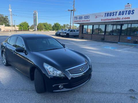 2012 Infiniti G37 Sedan for sale at Trust Autos, LLC in Decatur GA