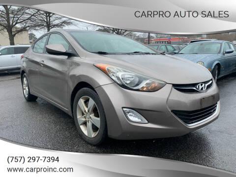 2012 Hyundai Elantra for sale at Carpro Auto Sales in Chesapeake VA