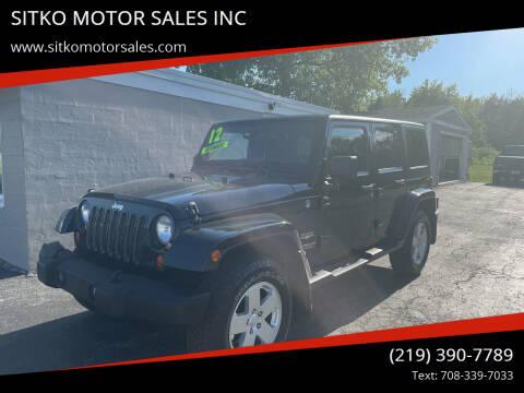 2012 Jeep Wrangler Unlimited for sale at SITKO MOTOR SALES INC in Cedar Lake IN
