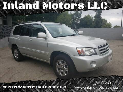 2004 Toyota Highlander for sale at Inland Motors LLC in Riverside CA