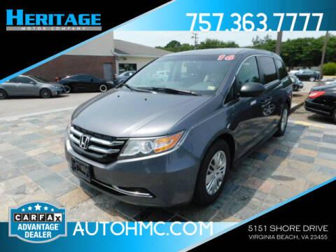 2016 Honda Odyssey for sale at Heritage Motor Company in Virginia Beach VA