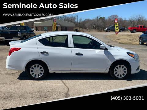 2019 Nissan Versa for sale at Seminole Auto Sales in Seminole OK