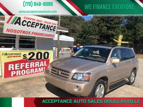 2006 Toyota Highlander for sale at Acceptance Auto Sales Douglasville in Douglasville GA