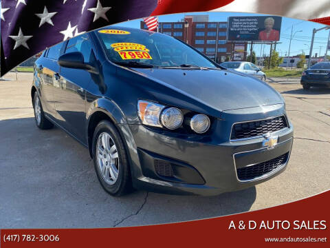 2016 Chevrolet Sonic for sale at A & D Auto Sales in Joplin MO