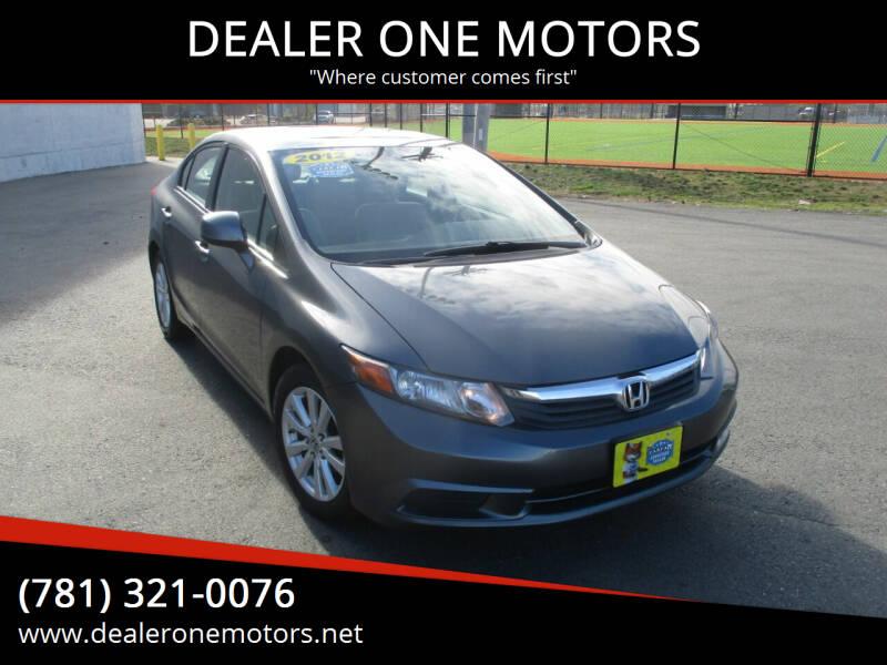 2012 Honda Civic for sale at DEALER ONE MOTORS in Malden MA