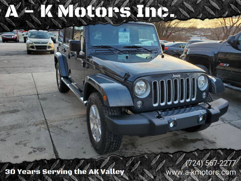 2017 Jeep Wrangler Unlimited for sale at A - K Motors Inc. in Vandergrift PA
